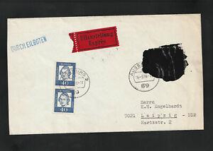 Bund, Eil-Brief als Postkrieg aus Augsburg nach Leipzig