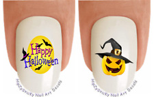 "Nail Decals #721H HOLIDAY ""Happy Halloween Pumpkin"" WaterSlide Nail Art Transfer"
