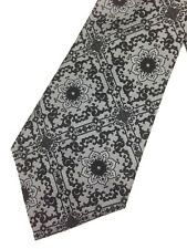 True Vintage Mens Necktie Kipper Wide Neck Tie Jacquard Boho Black Grey Paisley