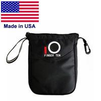 Golf Pouch Bag Valuable Pack Hold Balls & Tees Inner Zipper Tote Black