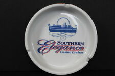 Vintage Southern Elegance Casino Cruises Round White Ceramic Ashtray Gold Rim
