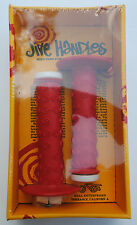 Jive Handles old school BMX bicycle grips - RED w/ WHITE Trick Tips - NOS!