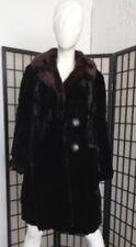 SCRAP COAT: BLACK SHEARED RABBIT FUR COAT JACKET W/ MINK COLLAR ARTS & CRAFTS