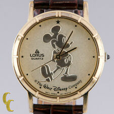 "Lorus Unisex Mickey Mouse Quartz Watch ""The Walt Disney Co"" Gold Dial V811A"