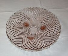 "Footed Swirl design Pink Depression Glass Fruit Bowl candy dish 10"" Vintage ~"