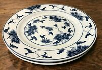 TATUNG DURABLE CHINA COBALT BLUE & WHITE FLORAL PAIR OF SALAD OR LUNCH PLATES