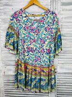 Lance Cade Boho Tunic Top Sz M Multicolour Bell Sleeve Floral Print Gypsy