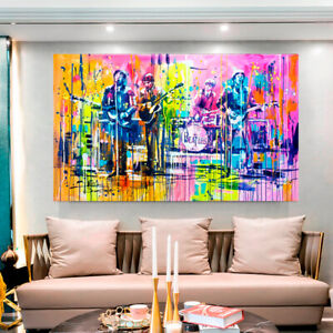 THE BEATLES PRINT ON STRETCHED CANVAS PRINTS ABSTRACT ARTWORK WATERCOLOR DECOR