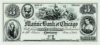ABNC PROOF OR INTAGLIO PRINT OF $3 MARINE BANK OF CHICAGO IL  *FREE SHIPPING*