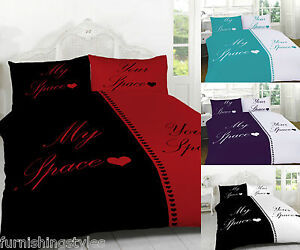 MY SPACE YOUR SPACE DUVET SET PILLOW CASES QUILT COVER BEDDING SETS 3 SIZES
