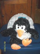 JAY AT PLAY HAPPY NAPPERS PILLOW BLACK AND WHITE PENGUIN IN IGLOO PLUSH