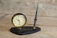 Vintage CAENAHO RUSSIAN CCCP AZAM Clock and pen desk set Atomic MCM
