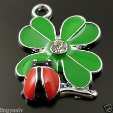 *Green And Red Color Leaves and Ladybug Enamel Pendant Charms Finding 37058 2pcs
