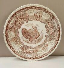 Antique Turkey Plate Brown Transferware Staffordshire England Dinner Plate
