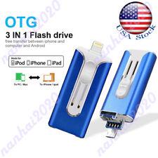 OTG 256G Memory Thumb Stick 3 In 1 USB Flash Pen Drive For iPhone Laptop iPad US