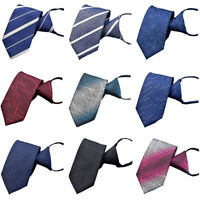 Men's Striped Zipper Pre-tied 7cm Neckties Wedding High Grade Business Neck Tie