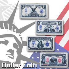 WR 4pcs US Dollar 1899 $1,$2,$5,1901 $10 Silver Bullion Bar Set for Gifts