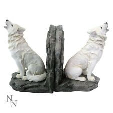 STUNNING 'WARDENS OF THE NORTH' WHITE WOLVES WOLF PAIR of BOOKENDS - NEMESIS NOW