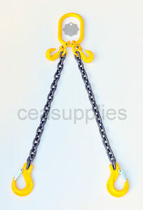 8mm 2 Leg Lifting Chain Sling  2.8 ton 2M Clevis Sing Hook & Shortners ID TAG