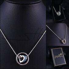 Geschenk Halskette Herz im Kreis, Damen, Silber, Swarovski® Kristalle, im Etui