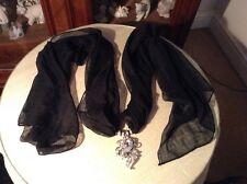 Femmes Noir Long Foulard avec strass pendaison décoration-Neuf