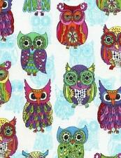 Fat Quarter Chunky Funky Owl 100% Cotton Quilting Fabric Timeless Treasures