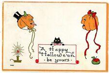 Halloween Greetings -FLOATING JOL & BLACK CAT- Bergman Embossed Postcard