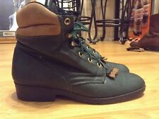 Women's vintage Laredo Roper Ankle Green Leather Western Work Boots Size 7