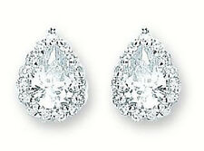 RHODIUM PLATED 925 HALLMARKED STERLING SILVER PEAR CUT HALO STUD EARRINGS