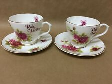 FENTON BONE CHINA x2 CUP & SAUCER SETS RED ROSE RUBY WEDDING 40th ANNIVERSARY