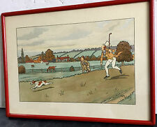 """HARRY ELIOTT, 1882-1959 GOLFING WATERCOLOR LITHOGRAPH 17""""  X 12 1/2"""" FRAMED L1"""