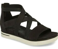Eileen Fisher Skill Women's Leather Strappy Platform Wedge Sandals Black Size 8