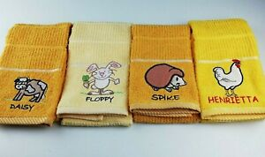 Kitchen Tea Towel 100% Cotton Terry Hand Towels Embroidered Animal Design Yellow