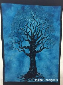 Small Tapestry Wall Hanging Cotton Fabric Poster Dry Tree Design Handmade Indien