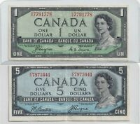 1954 $1 and $5 Devil's Face Bank of Canada Notes