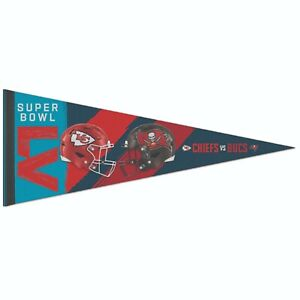 Super Bowl 55 Tampa Bay Buccaneers Kansas City Chiefs 12x30 Classic Pennant