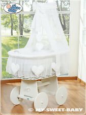 My Sweet Baby - Hearts White Canopy Wicker Crib Moses Basket - White