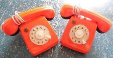 TELEPHONES à piles JOUET ENFANT PLASTIQUE ORANGE 1970