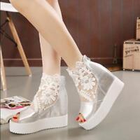 Womens Lace Hollow Peep Toe Platform High Wedge Heels Shoes Back Zip Sandals T24