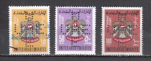 """UNITED ARAB EMIRATES 1990/93  USED 3 REVENUE STAMPS """" PERFIN """""""