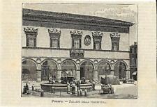 Stampa antica PESARO Palazzo della Prefettura Marche 1891 Old antique print