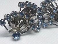Art Deco Inspired Blue Fan Earrings Vintage Blue Silver Tone Spokes Vtg Clip On