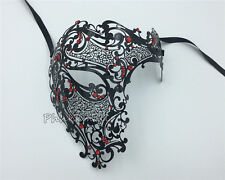 Phantom Laser Cut Venetian Mask Masquerade Metal Men Skull Filigree Rhinestone
