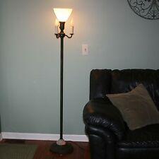 "Vtg 62"" Milk Glass Shade 5 Lights Torchiere Floor Lamp Art Deco Lit Onyx Base"