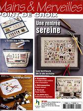 MAINS ET MERVEILLES n°104 Sept Oct 2014 Revue Magazine Point de croix Rentrée