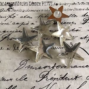 Vintage Antique Crystal Mirror Back Star Buttons Glass Shank 6 Pcs