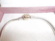 Genuine Pandora Silver & 14ct Gold Barrel Clasp Bracelet 590702HG - 19cm 585 ALE