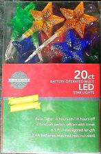 20 count Multi-color LED Star Shape 6.5' Battery Operated Mini Fairy Lights