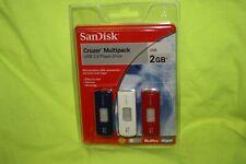 Sandisk 2 GB Cruzer Multipack USB Flash Drive SEALED Qty 3