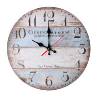 Wooden wall clock kitchen clock antique design modern shabby vintage clockFR